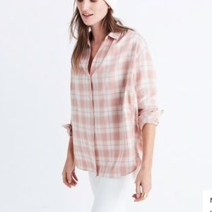 Madewell oversized soft pink cotton button down